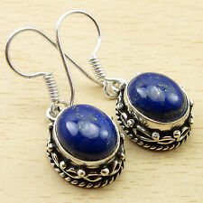 "Lapis Lazuli Earrings 1.25"" New Charming Jewelry ! 925 Silver Overlay"