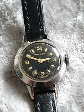Ladies Vintage Stainless Steel Black Dial MOVADO Mechanical Hand Wind Wristwatch