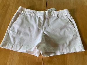 "Ann Taylor LOFT Shorts Size 4 Chino  Flat Front White Cotton 4"" Inseam New"