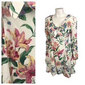1990s Mini Dress / Floral Print Short Rayon Dress Long Sleeve / Small
