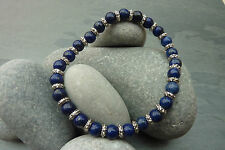 Lapis Lazuli Blue Gemstone Bracelet Stretchy with silver colour spacers, stacker