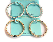 CLIP-ON EARRINGS HAMMERED HOOP GOLD OR SILVER HYPO-ALLERGENIC 1 INCH HOOPS