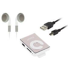 Mp3 Player Mirror Weiß Mini Clip Sport Micro SD bis 16GB Musik + Zubehörpaket
