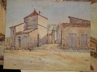 Ecole FRANCAISE XIX DESSIN AQUARELLE PAYSAGE MAISON VILLAGE DRAWING 1870-1880