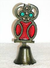"Vintage CAST IRON Metal STAINED GLASS Red Turquoise Suncatcher 5"" OWL Bird BELL"