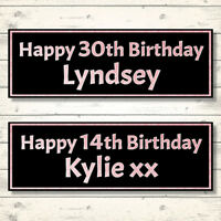 2 PERSONALISED ROSE GOLD EFFECT BIRTHDAY BANNERS - ANY NAME/ANY AGE