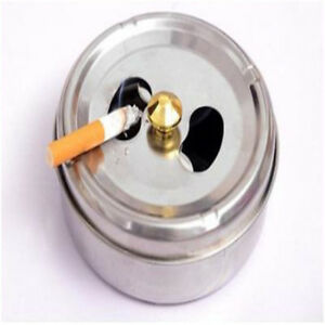 Ashtray Cigarette Stainless Steel Windproof With Lid For Indoor Outdoor GR
