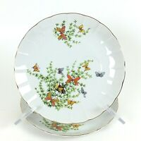 ECSTASY By SHAFFORD Snack Plate Butterflies Flowers Gold Trim No Cup Lot of 2