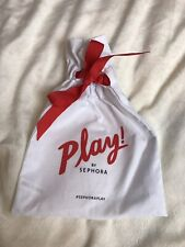 New Sephora Play White w/ Red Drawstring Bag, 6.5 x 9 inches, Free U.S. Shipping