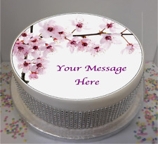 """Personalised Pink Flowers 7.5"""" Edible Icing Cake Topper mothers day mum gran"""