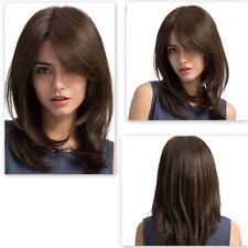 Women Dark Brown Shoulder Length Curly Synthetic Hair Wig Long Wave Full Wigs