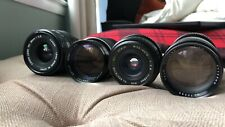 Vintage camera lens lot with X-Mount adapters for 2 of the 4 lenses included.
