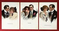 3 x Künstler AK um 1910 Liebespaar Typen Frauenschönheit Mode  ( 67476