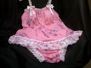 SISSY 2 PC SET PINK FLORAL BABY DOLL NIGHTY & PANTIE  LACE HEM SATIN PUSSY BOWS