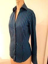 Ben Sherman sleek-fitting button-front shirt turquoise blue/wine stripes XSmall