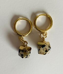 18k Gold Plated Natural Dalmatian Jasper Crystal Gemstone Huggie Hoop Earrings