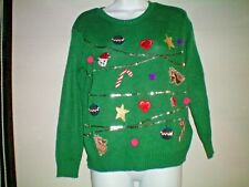 SIZE SMALL GREEN  CHRISTMAS JUMPER festive..CAT ,UNICORN ,SEQUINS NEW WITH TAGS