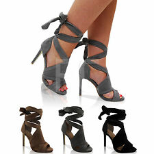 NEW LADIES PLATFORM HIGH HEEL STILETTO PEEP TOE LACE UP ANKLE SHOES CUT OUT SIZE