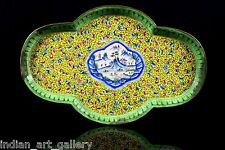 Antique Beautiful Chinese Cloisonné Yellow Geisha Flower tray decorative. i20-49