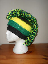 Mohican style hat black, green, yellow Northampton Saints rugby club colours