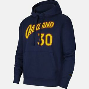 Nike OAKLAND WARRIORS Stephen Curry City Edition Pullover Hoodie NAVY FIT LOOSE