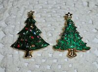 Vintage Enamel Christmas Tree Brooch Pin Lot of 2 Rhinestone Gold-tone  C39