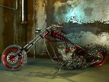 "19"" x 13"" Poster SPIDER WEBS CHOPPER Hot Rod Custom Bike Motorcycle"
