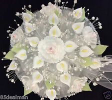 White Bridal Wedding Bouquet Migajon Hand Made Arum Calla Lily Carnation Crystal