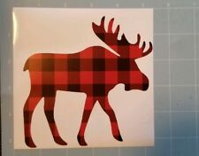 Vinyl decal sticker MOOSE, buffalo plaid! Yeti, tumbler, cars, mugs...fast ship