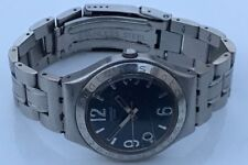 Swatch Irony Men Watch Swiss Made Silver Tone Blue Face Date Analog Quartz