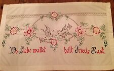 Antique Vintage German Embroidered Panel Floral And Doves