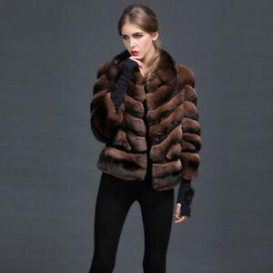 Brown Chinchilla Fur Coat European Premium Fur