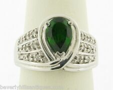 Exquisite Brilliant Green Tourmaline Diamonds 14k Signed White Gold Ring