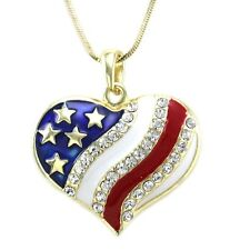 4th of July Independence Day American USA Flag Heart Star Pendant Necklace n453