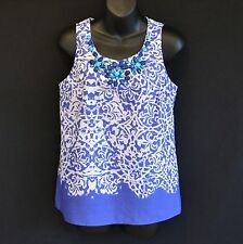 NEW RRP $39 TARGET TOP TUNIC SLEEVELESS 100% FINE COOL COTTON BLUE WHITE 8 / 10