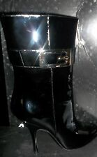 Gucci Patent Leather VERNICE DIAMOND Silver Buckle Black Boots 7.5B New