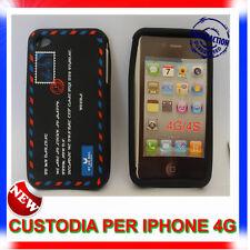 Custodia + Pellicola silicone AIRMAIL NERA per IPHONE 4G