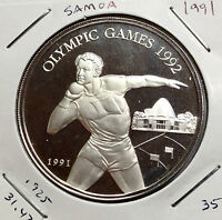 1991 SAMOA ISLANDS TEN DOLLARS .925 SILVER OLYMPIC CROWN LOW MINTAGE