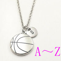 Sport basketball charm silver Initial Letter Necklace stamped monogram pendants