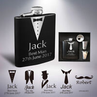 Personalised Hip Flask Engraved 6oz Wedding Gift Keepsake Best Man Groom Usher