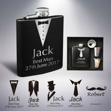 Personalised Hip Flask Engraved Stainless Steel 6oz Wedding Best Man Usher Gift