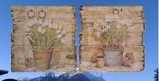 Holz Schilder 2 Frühlings Blumen Töpfe Holzschilder Geschenke Nostalgie Wanddeko