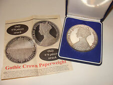"""Queen Victoria Gothic Crown Paperweight Silver-plated Proof in Case 3.5"""" 14 oz"""