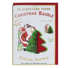Tarjeta de Navidad Ornamento de Navidad Árbol Adorno Santa Claus & presenta Vintage