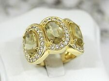 Imposanter & auffälliger Designer Ring aus 925 Silber/Vergoldet mit Steinbesatz