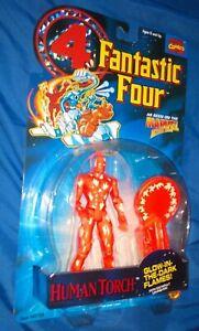 Fantastic Four Human Torch glow in dark action figure MOC 1994 Toy Biz Marvel FF
