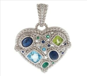 Judith Ripka Sterling Silver GENUINE Emerald, Sapphire & Topaz Enhancer Pendant