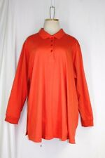 WOMAN WITHIN Polo Rugby Shirt PLUS SIZE 1X Orange 100% Cotton Knit Long Sleeve