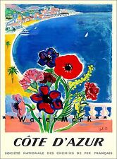 Cote D Azur 1947 France Vintage Poster Print Europe Seaside Tourism Decor Art