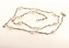 "Vtg 14K White Gold Cultured Pearl Necklace Strand 5.6mm 17.5"" Estate Chain Italy"